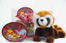 (1)どうぶつチョコクランチ、(2)レッサーパンダの赤ちゃんのぬいぐるみ